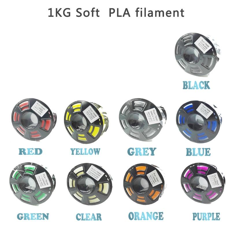 Soft PLA 1.75mm Filament For 3D Printer Flexible Material 1KG/0.5KG Plastic Rubber Consumables Material For 3D Printers SoftSoft PLA 1.75mm Filament For 3D Printer Flexible Material 1KG/0.5KG Plastic Rubber Consumables Material For 3D Printers Soft