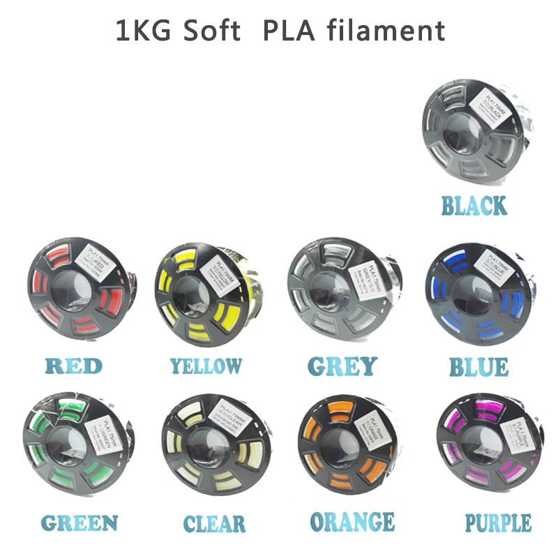Soft PLA 1.75mm Filament For 3D Printer Flexible Material 1KG Plastic Rubber Consumables Material For 3D Printers Soft мыло морское кит 981405