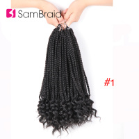 SAMBRAID Synthetic Hair Curl Box Braids Hair Crochet Braids Kanekalon Hair 24Root/60G /Pack Pure Color For Black Women