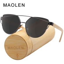 MAOLEN New Cat Eye Polarized Sun Glasses Retro Men and Women Luxury Handmade Wood Sunglasses for Friends as Gifts Eyewear UV400