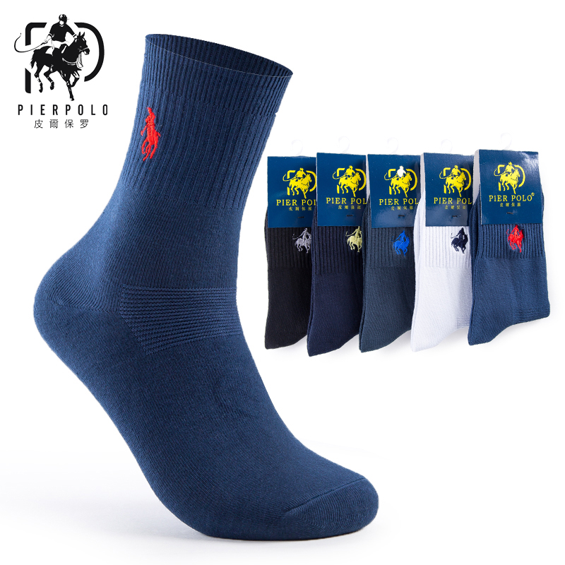 High Quality Fashion 5 Pairs/lot Brand PIER POLO Casual Cotton Socks Business Embroidery Men's Socks Manufacturer Wholesale(China)