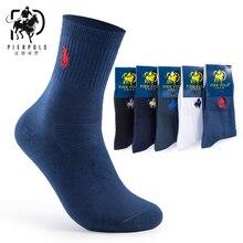 Высокое качество, модные, 5 пар/лот, брендовые, PIER POLO, повседневные, хлопковые носки, бизнес, с вышивкой, мужские носки от производителя
