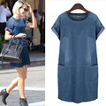 2017 Europe and the United States wind big size fat show thin girl denim dress