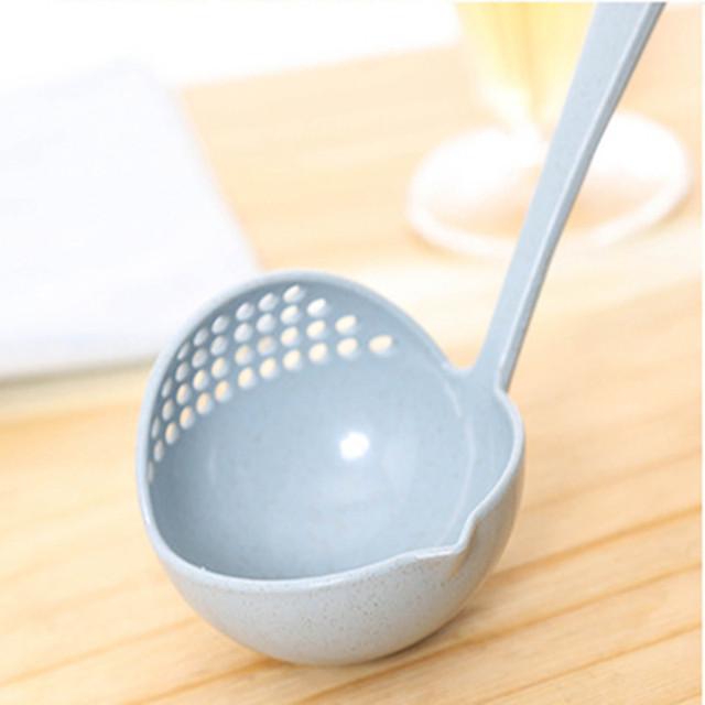 2 v 1 Polievková ECO naberačka žufana Dlhá rúčka Spoon Kuchyňa ekologický materiál pšeničná slama Ekológia