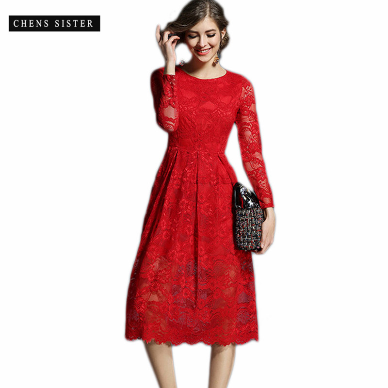 CHENS SISTER 2018 Tunic A line Slim Red White Black Soft Lace O Neck Elegant