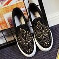 Wome Plataforma Mocasines de punta Redonda zapatos de Lona Zapatos femeninos pisos resbalón de perforación Caliente suave zapatos casuales Sapatos femininos XK071613