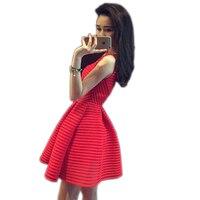 Women Elegant Red Lace Summer Dress Sleeveless O Neck Womens Dress 2016 Short Party Dresses Vestidos