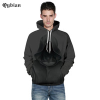 Qybian Hot Sale Brand Mens Hoodies Sweatshirt Male Casual Slim Fit 3D The Ghost Of Death