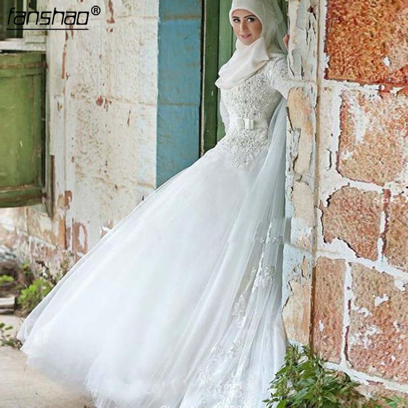 Muslim New Long Sleeve Beaded Wedding Dresses Appliques White Bridal Gown Custom