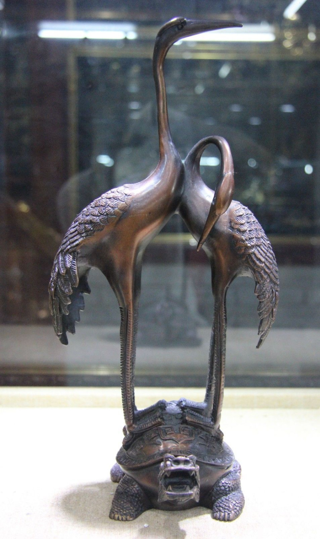 Livraison Gratuite Palais Chinois Cuivre Bronze Feng Shui Deux Rouge-Grue couronnée sur Dragon Tortue tortue