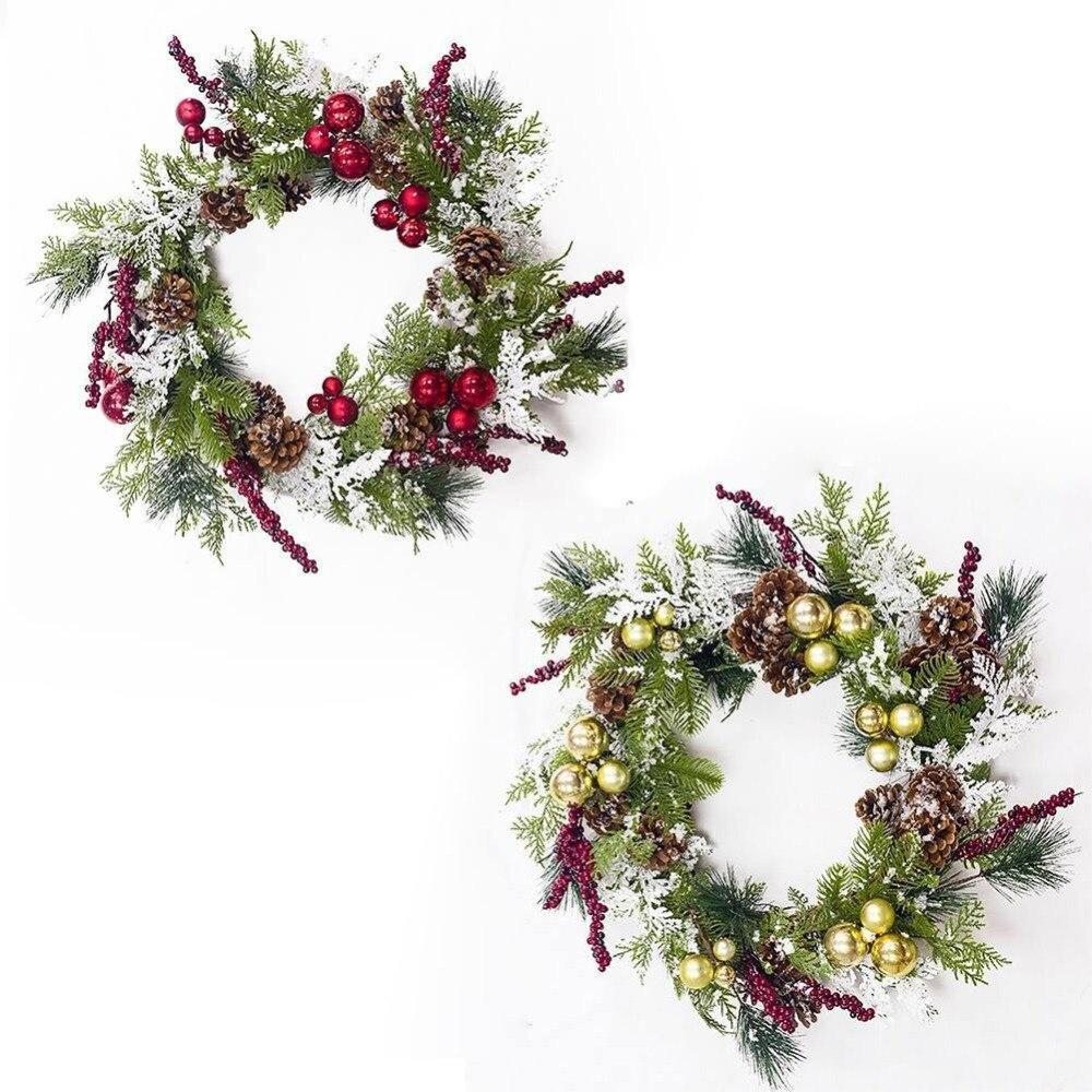 18-pouces Guirlande De Noël avec Pré-décoré avec Boule Ornements, Baies, pommes de pin Vacances Décoratifs Suspendus Ornements NOUVEAU