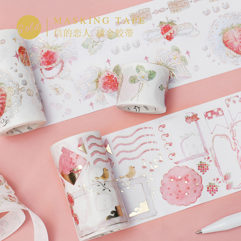 Bronzing Washi Paper Tape Strawberry Party Series Handbook Diary DIY Decorative Masking Tape