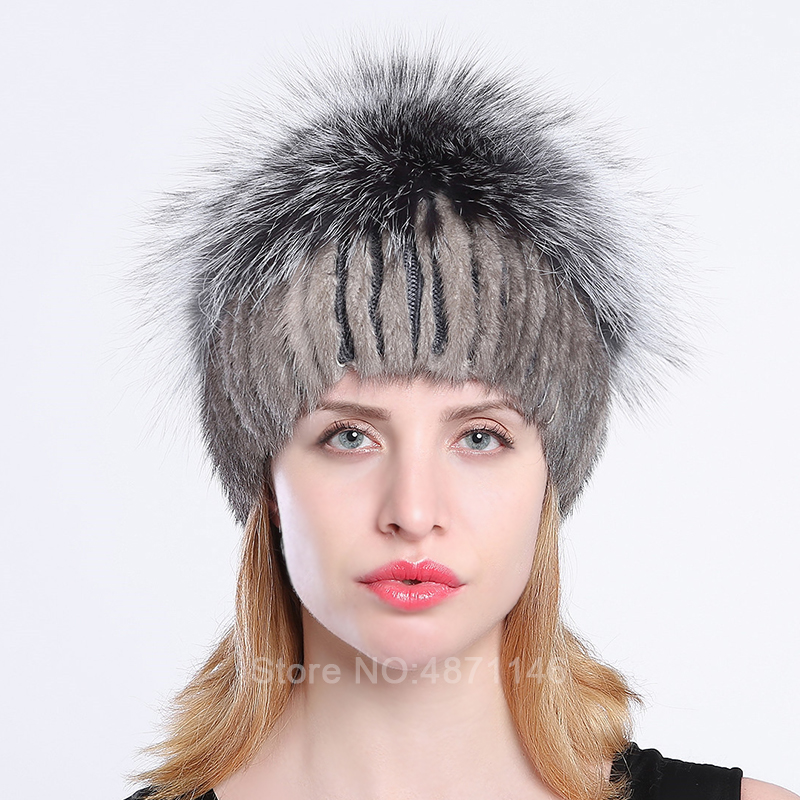 Women lady girl Autumn winter female real Mink knitting fur hat woollen lining Silver fox fur ornament hats Skullies Beanies