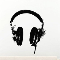 E59 Audio Mural Design MICROPHONE Headphones Hand Up Music Melody DJ Pulse Sign Studio Wall Stickers