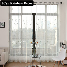 Blinds Tulle Curtains For Living Room Sheer Curtains Modern For Bedroom Embroidered Voile Window Firanki  Window Curtain Set