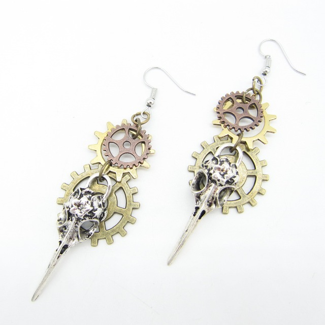 Cute Skull Decorated Metal Steampunk Drop Earrings