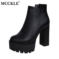 MCCKLE Thick High Heel Ankle Boots For Women Black Platform Elastic Band Fashion Autumn Winter Women