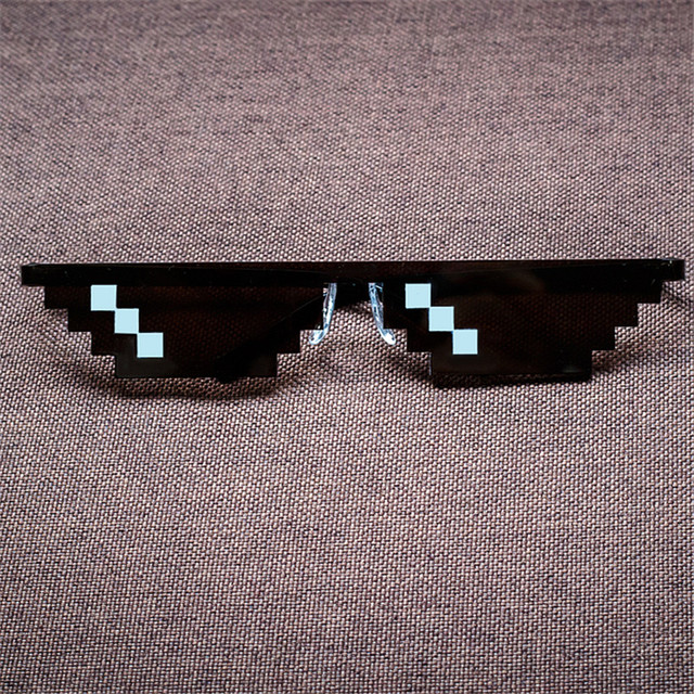 Deal With It Glasses Thug Life Minecraft  Men Women Sunglasses Black Mosaic 8 Bit Pixel Glasses Men's Women's Brand Glasses