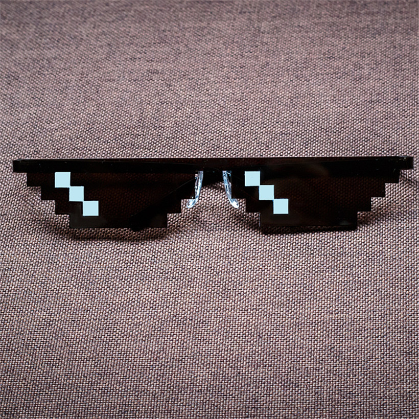 Deal With It Glasses Thug Life font b Minecraft b font Men Women Sunglasses Black Mosaic