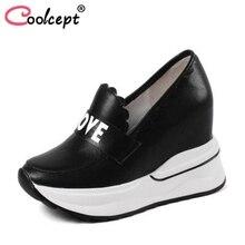 Coolcept женские туфли-лодочки из натуральной кожи на высокой танкетке Для женщин обувь модная повседневная обувь женская обувь размеры 34–40