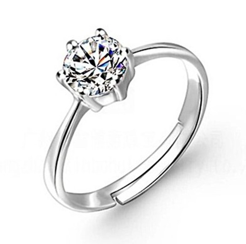 2017 hot sale classic 6 claw wedding ring engagement open adjustable ring real 925 sterling silver - Wedding Rings On Sale