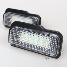 2Pcs 18-SMD Error Free LED License Plate Light Lamps  For Mercedes-Benz W211 4D W203 5D W219 R171 2D 12V LED License Plate Light
