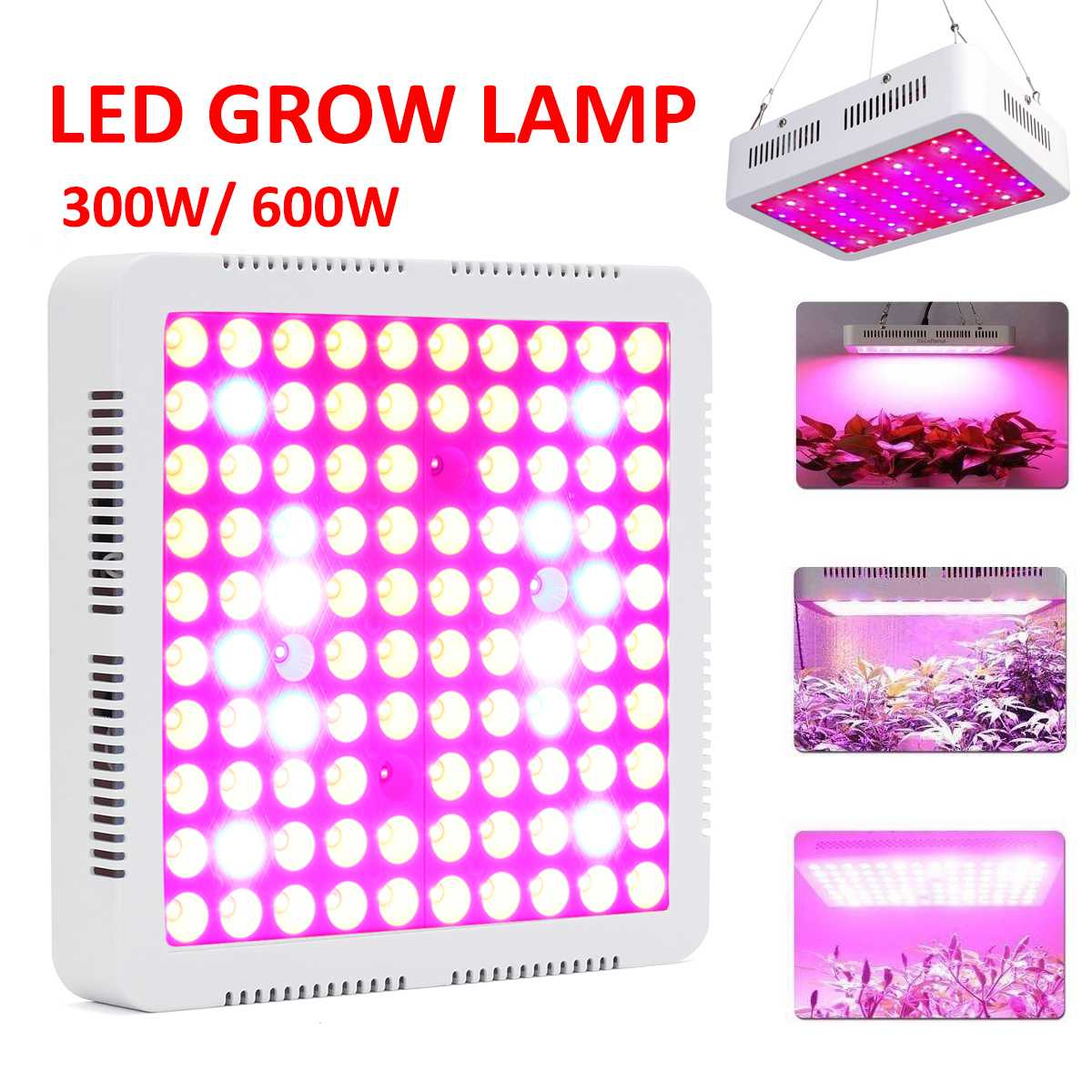 Fournitures de jardin 300 W 600 W spectre complet rouge/bleu/blanc/UV/IR 100 LEDS plantes hydroponiques poussent lumière lampe d'intérieur pour les serres