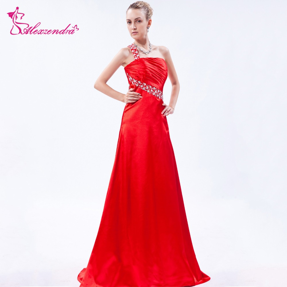 Alexzendra Red Satin A Line One Shoulder   Prom     Dresses   Sweetheart Beaded Party   Dress   Evening   Dresses   Plus Size