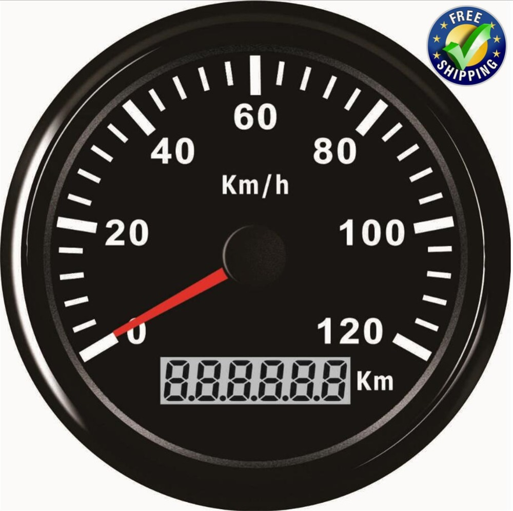 Auto Modified Instrument Panel Gauges 85mm Pointer Type GPS Speedometers 0-120km/h Speed Odometers 9-32v with GPS Antenna Black 1pc 0 130km h gps speedometers 85mm speed milometers 0 80mph odometers 9 32v for auto with gps antenna and backlight