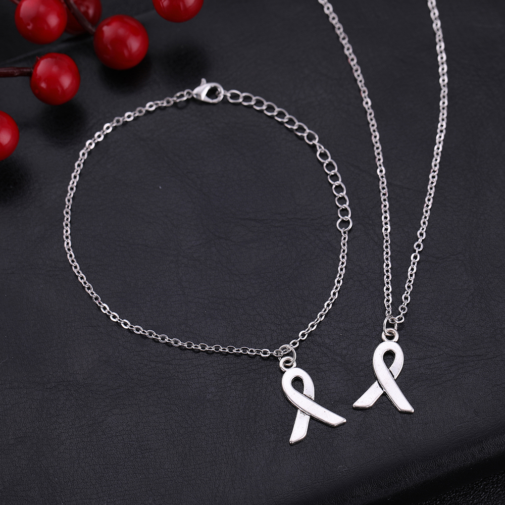 Teamer Small Antique Silver Breast Cancer Ribbon Charms ...