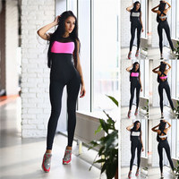 Dance Weight Loss Yoga Suits Yoga Sets Fitness Sports Workout Clothes for Woman Long Jumpsuit Rose White Gray S-XL 2017 Hot