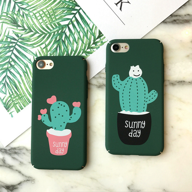 best website f625c a5c18 US $1.89 |Frosted Cover Sunny Day Cactus for iPhone 7 8 Plus Case For  iPhone 6 6S Plus Phone Coque Capa Fashion Cases Hard PC-in Half-wrapped  Case ...