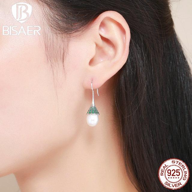 Bohemian 100 925 Sterling Silver Green Whisper Dangle Drop Earrings Women Fashion
