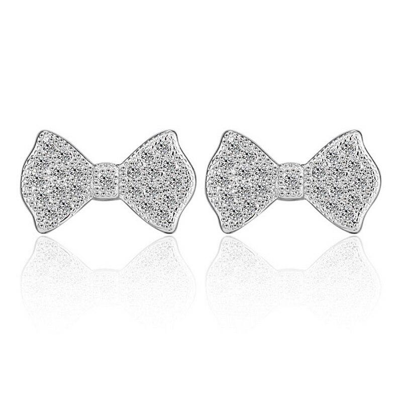 JEXXI Лидер продаж Кристалл Rhinestone Золото/серебро бантом стержня уха Шарм серьги Для женщин леди девушка вечерние украшения подарок