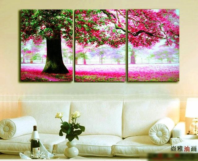 Framed 5 Panels 100% Handpainted Museum Quality Large Wall Canvas Art Picture Tree Hot sale