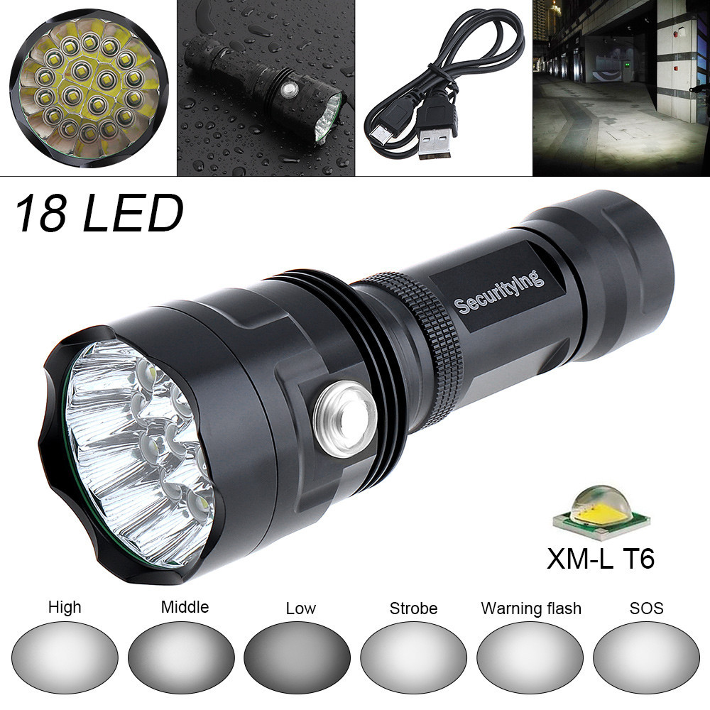 SecurityIng Super Bright 9000LM 18x XM L T6 LED Flashlight Torch Lamp Outdoor Waterproof LED Flash