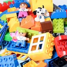 Diy colorido tamanho grande blocos de construção castelo figuras de ação carro animais tijolos criativo educacional aprendizagem brinquedos para crianças