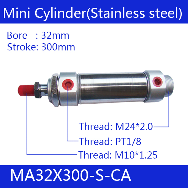 ФОТО Free shipping Pneumatic Stainless Air Cylinder 40MM Bore 300MM Stroke , MA40X300-S-CA, 40*300 Double Action Mini Round Cylinders