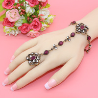 New Turkish Bracelet And Rings For Women Antique Exquisite Crystal Back Of The Hand Chain Indian