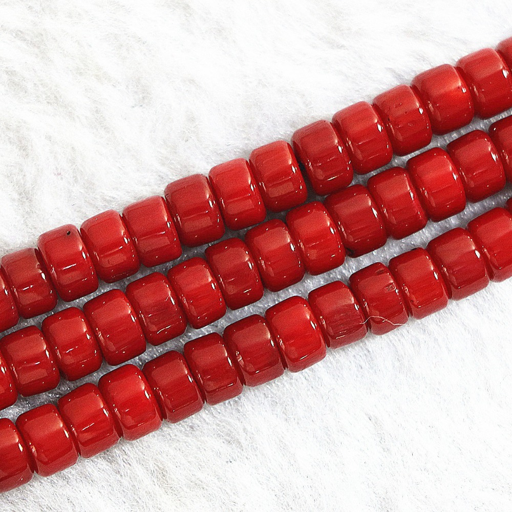 Natural red coral stone 2x4mm 3x5mm 4x6mm fashion abacus rondelle loose beads classical jewelry making 15 inch B650