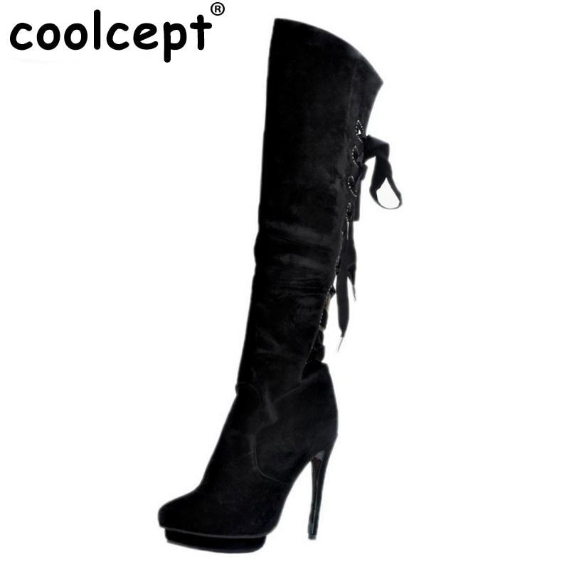 ФОТО Women Round Toe Platform Over Knee Boots Sexy Woman Thin High Heel Shoes Fashion Cross Strap Heels Long Botas Size 34-47