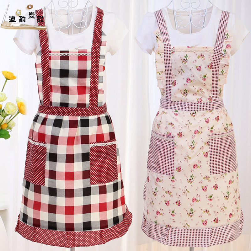 good Protective Clothing In The Kitchen #2: polyester cotton aprons kitchen essential protective clothing princess dress sleeveless lace waterproof pocket Korean aprons(