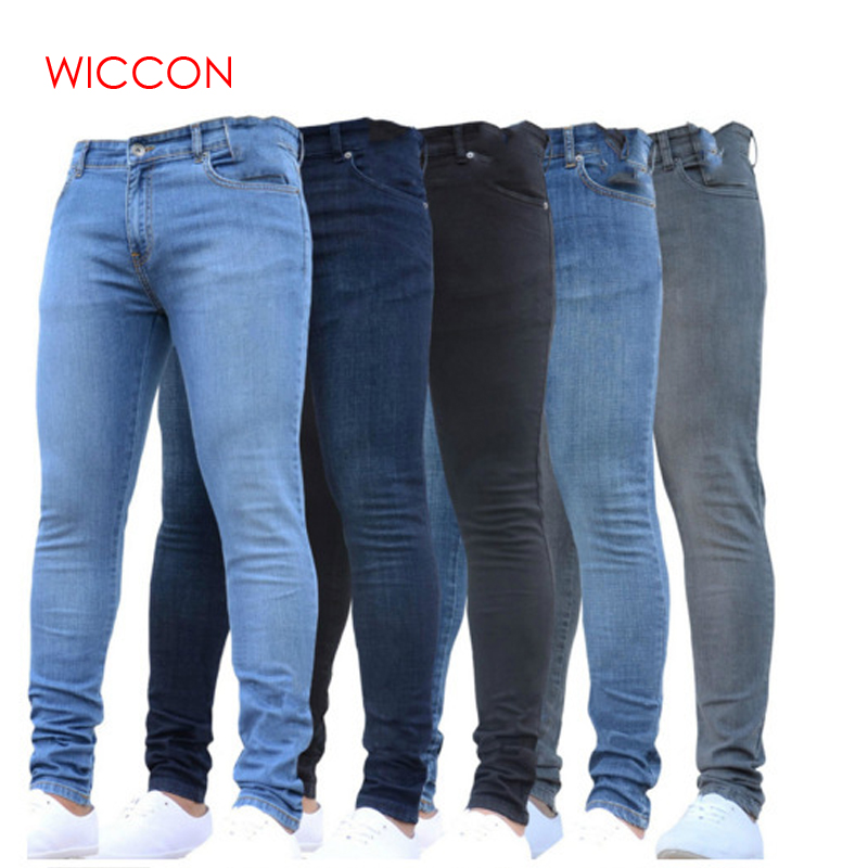 Jeans Trousers Pencil-Pants Slim-Fit Straight-Stretch-Feet Skinny Zipper Male Casual