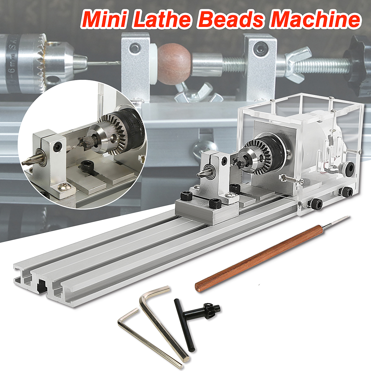 Mini Lathe Beads Machine Woodworking DIY Lathe Standard Set Polishing Cutting Drill Rotary Tool 80W DC 24V dc 3v 24v mini electric hand drill rotary tool diy 385 motor w 24v power supply g205m best quality
