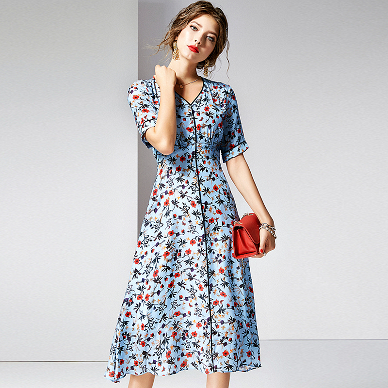 Dress Women 100 Silk Fabric Printed V Neck Short Sleeves High Waist Vintage Style Dress New