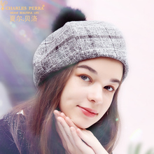 Charles Perra Women Hat 2019 New Berets With Pom Pom Fashion Elegant Korean Version Keep Warm Winter Hats Female 0272 все цены