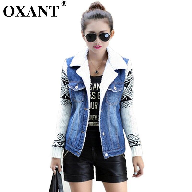 OXANT 2019 hiver mode femmes Jeans décontracté lâche tricot à manches longues Denim veste en peluche doublure Jeans vestes XC237