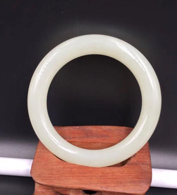 Chinese 100% Natural white round xijiang hetianyu stone Bracelet Bangle