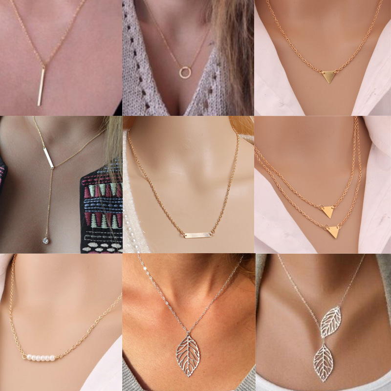 b6bc195d34 European and American jewelry leaf clavicle chain brand temperament  personality fashion simple circle bar Necklace woman