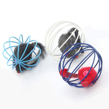 New Funny Toys False Mounse in Rat Cage Ball for Pet Cat Kitten Playing Cage Ball Toy for Pets